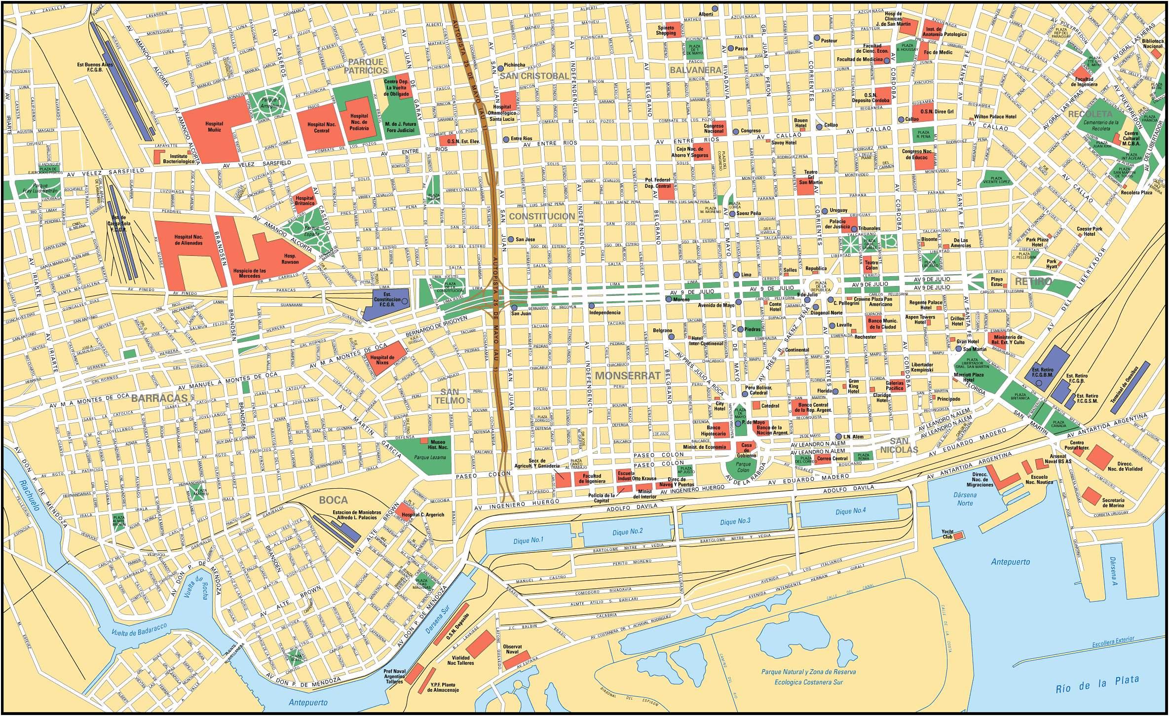 Mapa Buenos Aires | Metro Map | Bus Routes | Metrobus Way Map ...