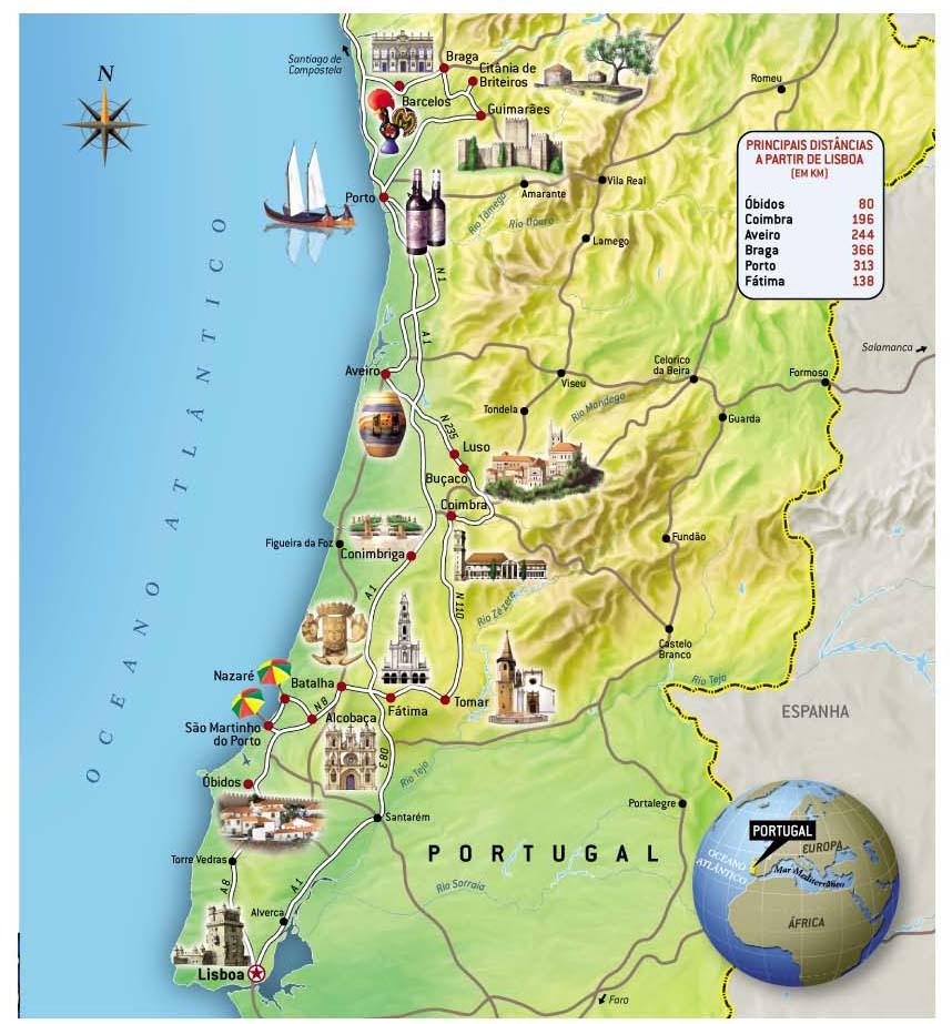 Portugal Mapa Viagem Decaonline Dicas De Viagem - Portugal mapa
